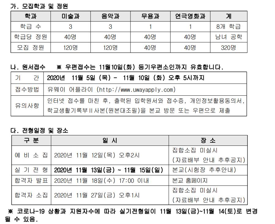 [일반] 2021학년도 계원예술고등학교 전형요항 안내(수정본)의 첨부이미지 1